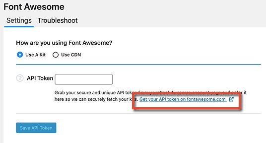 Font Awesome API Token